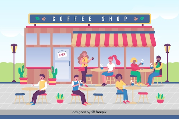La gente che beve il caffè al bar
