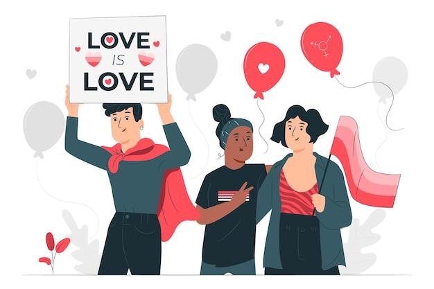 La gente che celebra l'illustrazione di concetto di giorno di orgoglio