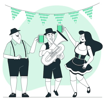 La gente che celebra l'illustrazione più oktoberfest di concetto