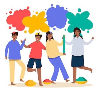 La gente che celebra la progettazione dell'illustrazione di festival di holi