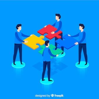 La gente che collega il puzzle collega la priorità bassa isometrica