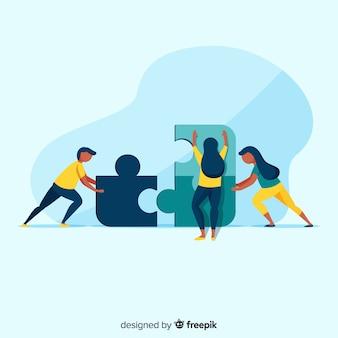 La gente che collega l'illustrazione dei pezzi di puzzle
