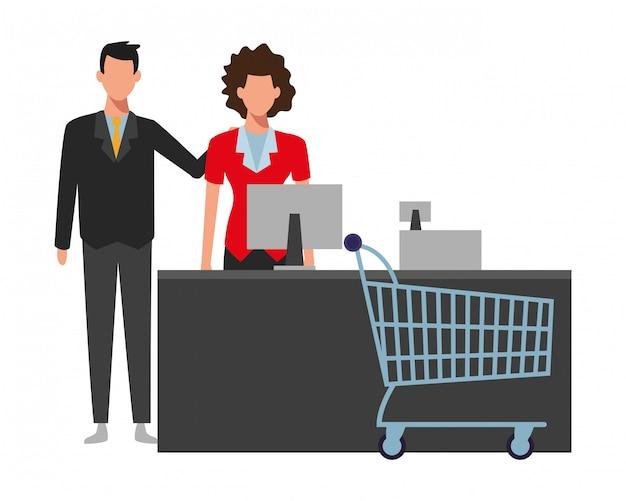 La gente che compera al supermercato