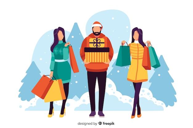 La gente che compra i regali di natale illustrati