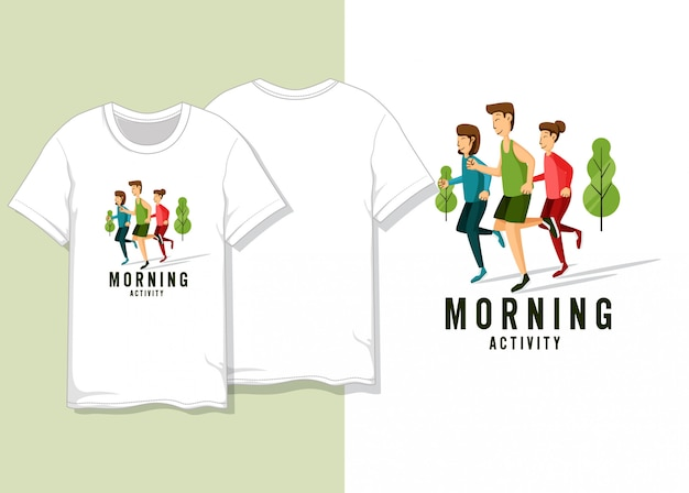 La gente che corre all'illustrazione di mattina