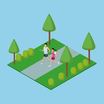 La gente che corre nel parco 3d