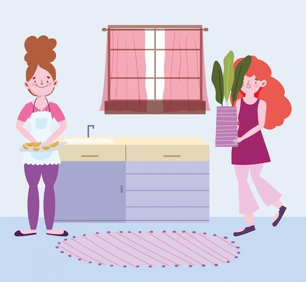 La gente che cucina, donna con cibo nel tagliere e ragazza con pianta in vaso in cucina