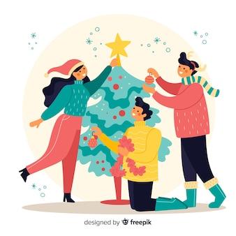 La gente che decora l'illustrazione dell'albero di natale