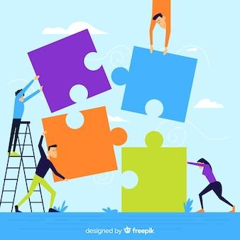 La gente che fa insieme puzzle illustrazione