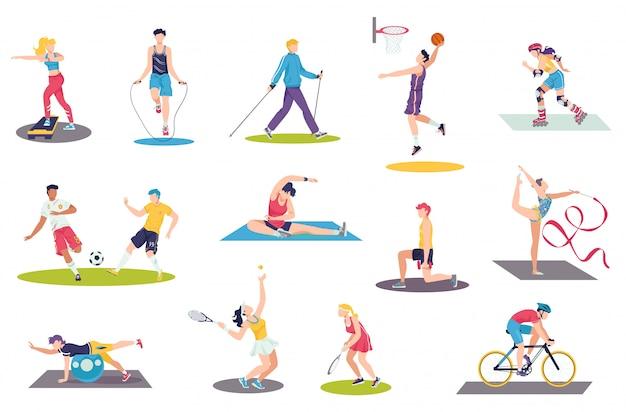 La gente che fa l'insieme dell'illustrazione di esercizi di sport, addestramento dei caratteri dello sportivo della donna dell'uomo del fumetto, attività sportiva su bianco