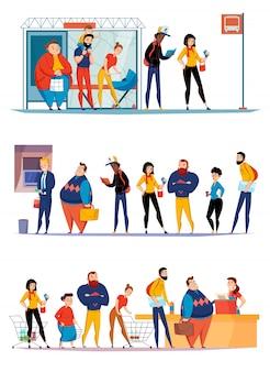 La gente che fa la coda nella cassa aspettante del bus del supermercato che allinea per l'illustrazione piana degli insiemi orizzontali dei contanti di bancomat