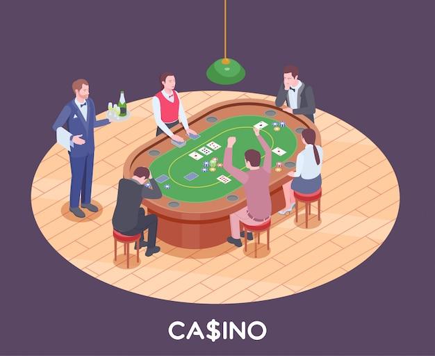 La gente che gioca a poker nella composizione isometrica 3d nel corridoio del casinò
