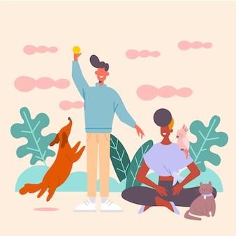 La gente che gioca con l'illustrazione degli animali domestici con il cane e il gatto