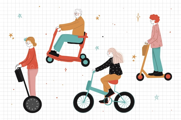 La gente che guida l'illustrazione del trasporto elettrico