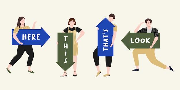 La gente che indica su, giù, a sinistra, a destra e che tiene la grande freccia di direzione con l'illustrazione dello spazio del testo. il maschio e la femmina guidano la direzione