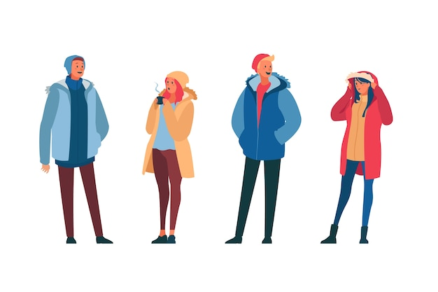 La gente che indossa abiti invernali su sfondo bianco