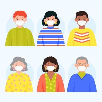 La gente che indossa il concetto di maschera medica