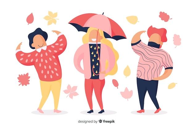 La gente che indossa l'illustrazione dei vestiti di autunno
