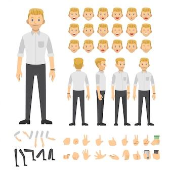 La gente che lavora il carattere dell'illustrazione dell'icona di vettore