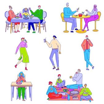 La gente che mangia sulla linea di caratteri illustrazione dell'alimento di arte isolata.