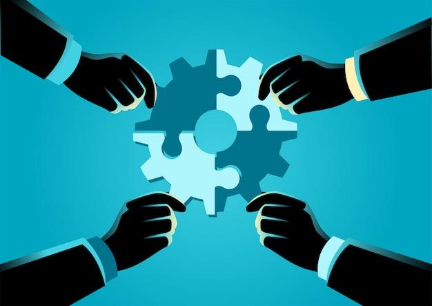 La gente che monta il puzzle che forma un ingranaggio