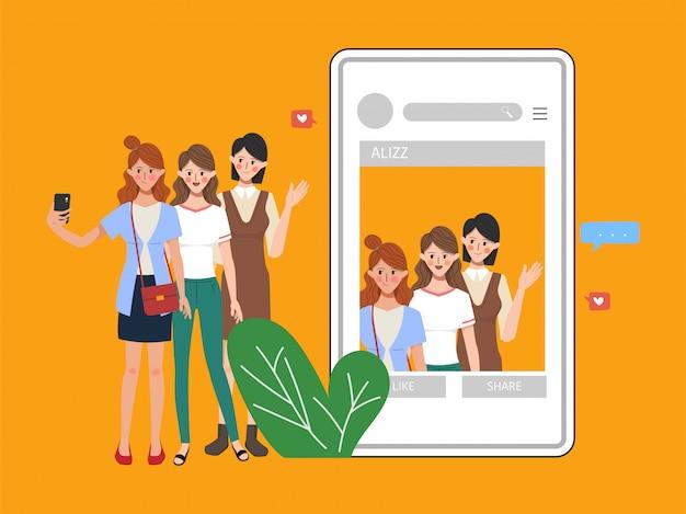 La gente che per mezzo del telefono cellulare per l'illustrazione piana di comunicazione della rete sociale di media