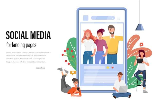 La gente che per mezzo del telefono cellulare per l'illustrazione piana di vettore di comunicazione della rete sociale di media