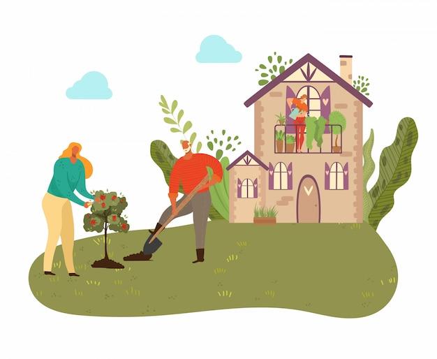 La gente che pianta albero in giardino con la casa di campagna, le piante e che fa il giardinaggio alla natura, uomini con lo showel nell'illustrazione isolata giardino.