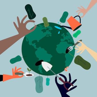 La gente che pianta gli alberi intorno all'illustrazione del mondo