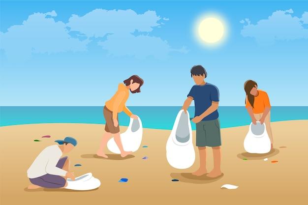 La gente che pulisce il concetto dell'illustrazione della spiaggia