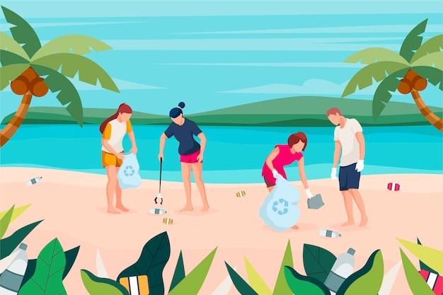 La gente che pulisce il concetto di ecologia della spiaggia