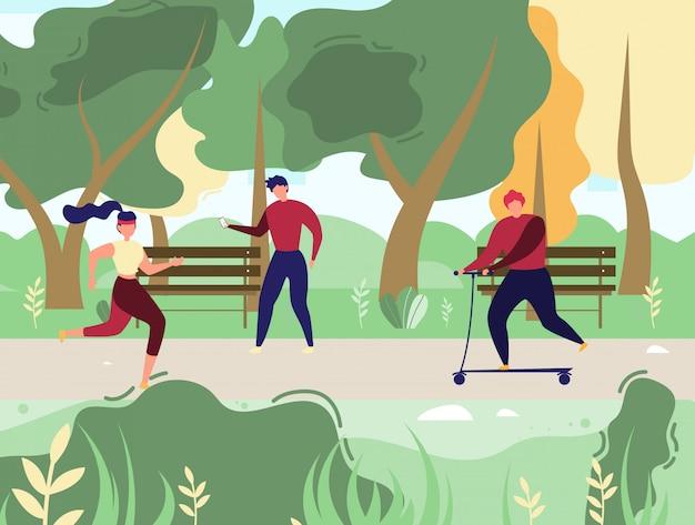 La gente che riposa e che fa gli sport nel vettore del parco