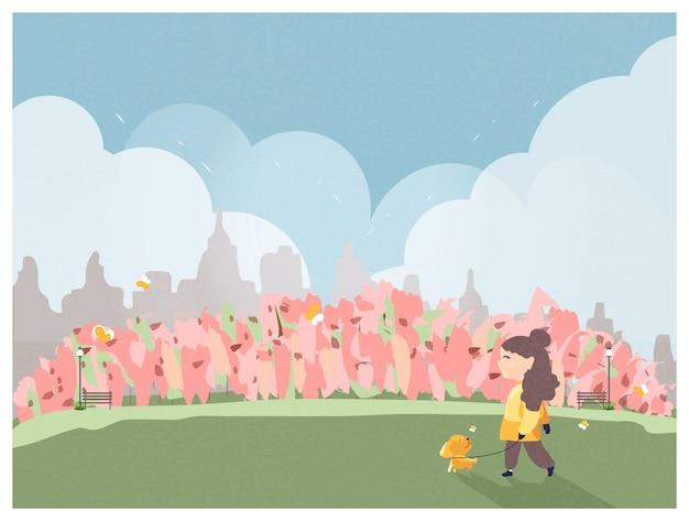 La gente che si rilassa in natura in primavera o l'ora legale al parco nella città.