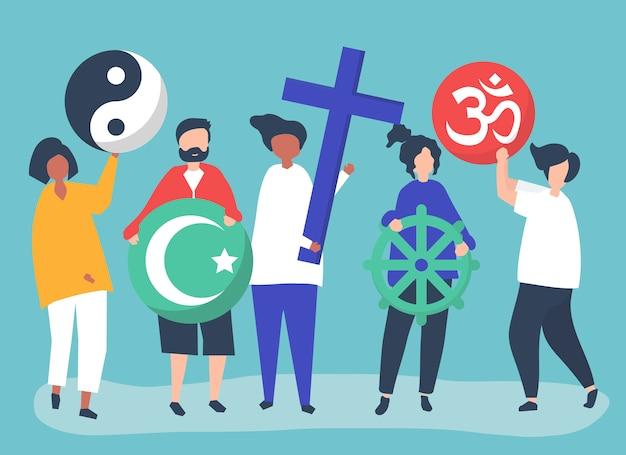 La gente che tiene l'illustrazione di diversi simboli religiosi