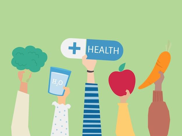 La gente che tiene l'illustrazione di simboli di salute