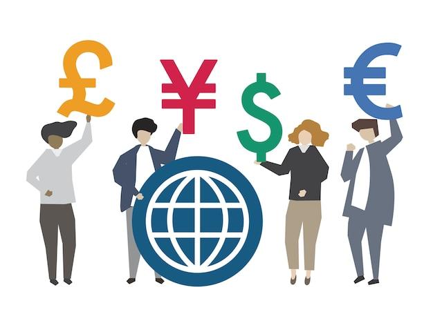 La gente che tiene l'illustrazione globale di simbolo di valuta