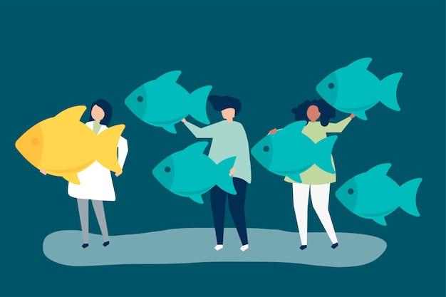 La gente che trasporta le icone dei pesci nel concetto di direzione