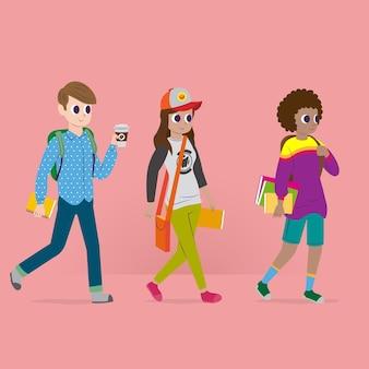 La gente che va all'università sfondo rosa
