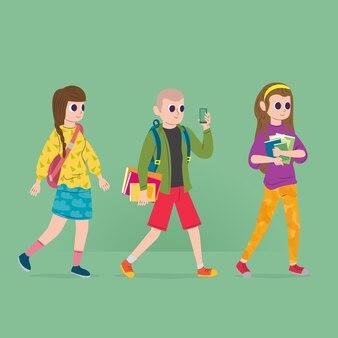 La gente che va all'università sfondo verde