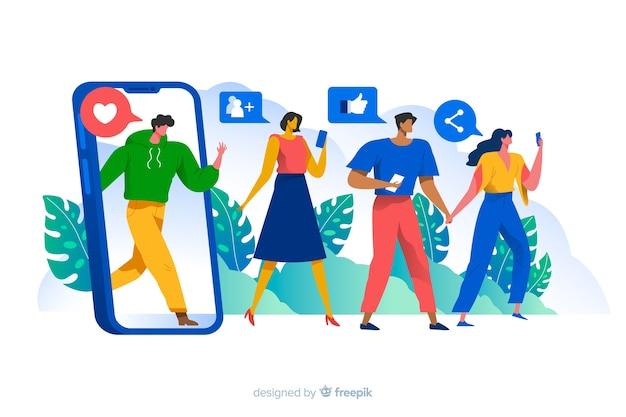La gente circondata dall'illustrazione sociale di concetto delle icone di media