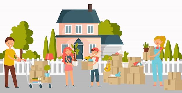 La gente commovente della nuova casa, della casa o dell'appartamento con le scatole di cartone, le giovani coppie e l'illustrazione piana dei lavoratori di servizio di consegna del carico di trasporto.