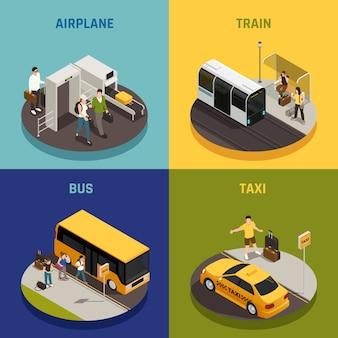 La gente con bagagli durante il viaggio sul bus del treno dell'aeroplano e sul concetto di progetto isometrico del taxi isolato