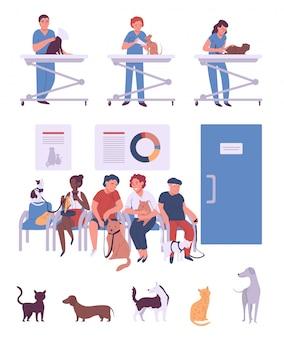 La gente con gli animali domestici in clinica veterinaria, illustrazione dei personaggi dei cartoni animati