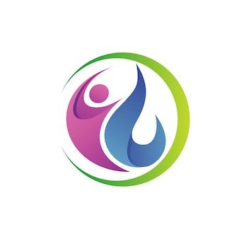 La gente con goccia d'acqua natura logo vettoriale