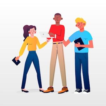 La gente con il pacchetto dell'illustrazione dei dispositivi di tecnologia