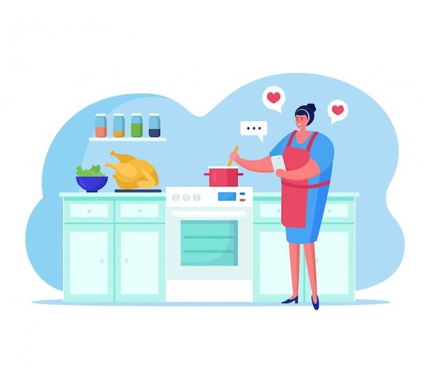 La gente con l'illustrazione degli aggeggi, personaggio dei cartoni animati della donna che cucina alimento, facendo uso dell'app dello smartphone per la comunicazione su bianco