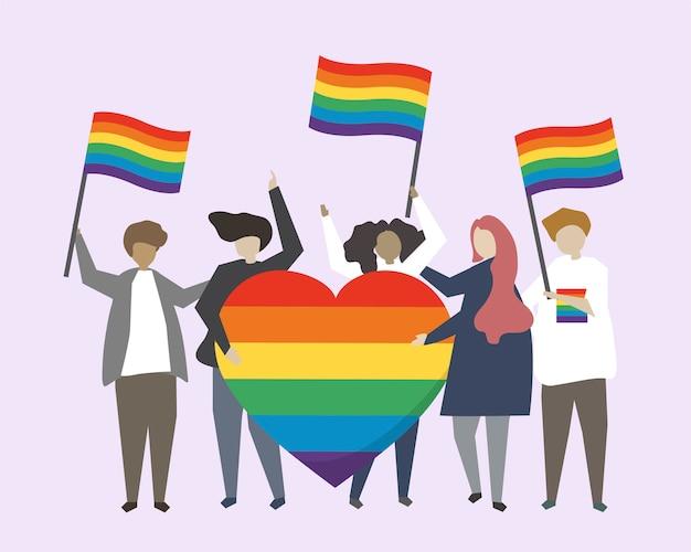 La gente con l'illustrazione delle bandiere dell'arcobaleno di lgbtq