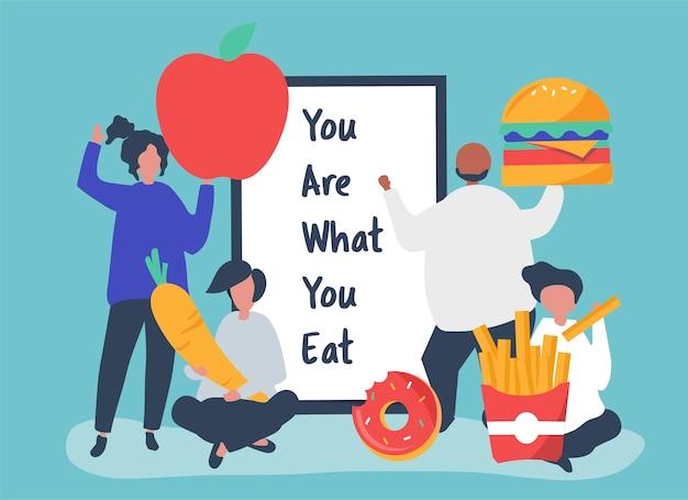 La gente con l'illustrazione delle icone dell'alimento