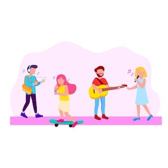 La gente con l'illustrazione di concetto di musica