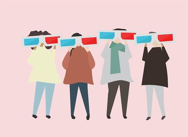 La gente con l'illustrazione di vetro del cinema 3d
